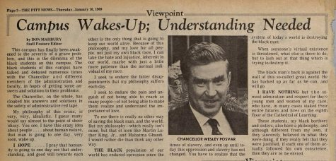 A column written by former editor-in-chief Don Marbury in the Jan. 16, 1969, edition of The Pitt News.