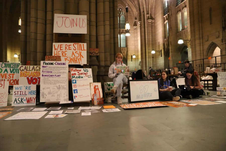 Members of the Fossil Free Pitt Coalition staged a February sit-in in the Cathedral of Learning, calling for fossil fuel divestment.