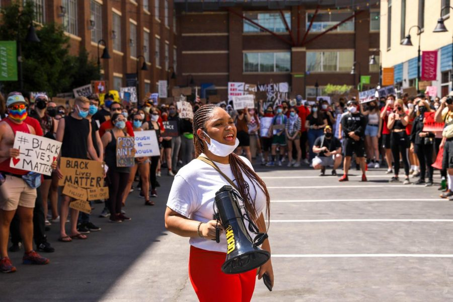 An organizer kicked off a Saturday protest at Bakery Square.