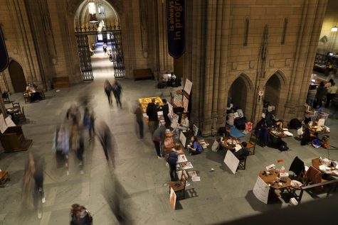 The Fossil Free Pitt Coalition held a sit-in in the Cathedral Learning in February to demand the board of trustees divest from fossil fuels.