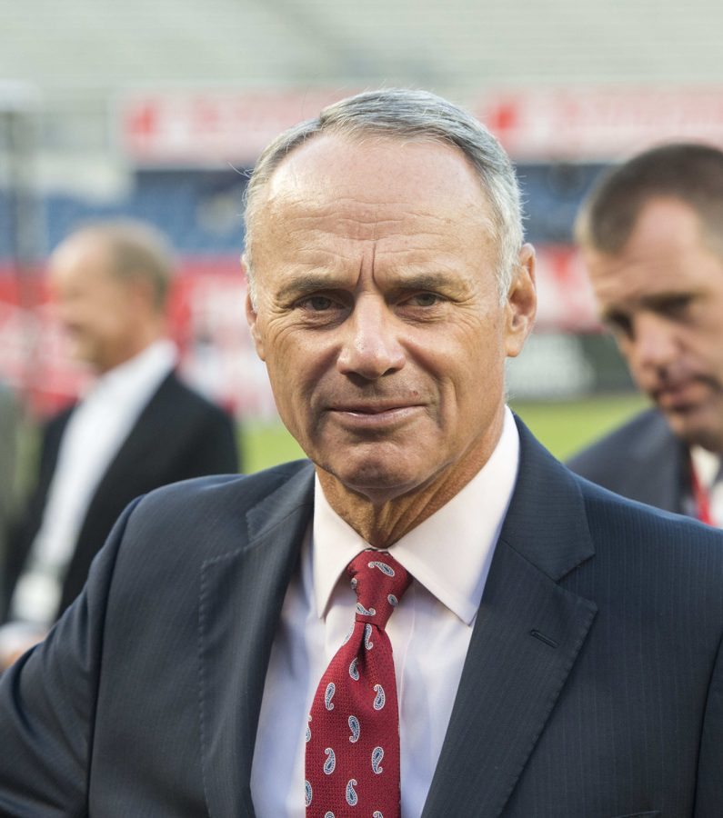 Rob+Manfred%2C+the+MLB+commissioner%2C+and+Tony+Clark%2C+the+MLB+Players+Association+executive+director%2C+met+face+to+face+in+Arizona+in+June+to+discuss+a+potential+return-to-play+agreement.