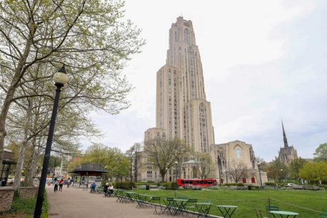 The Cathedral of Learning looms over Pitt's campus.