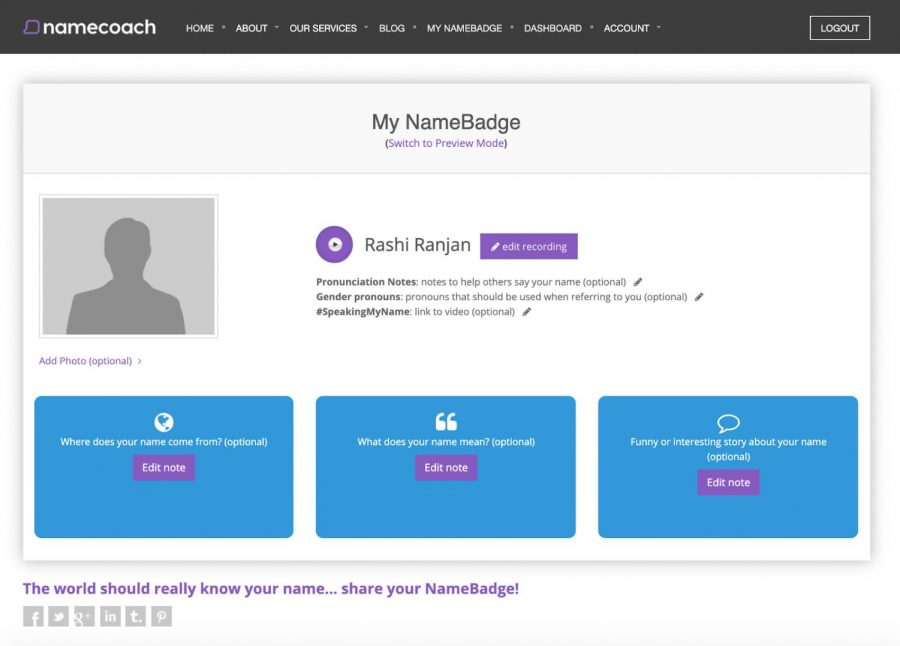 NameCoach allows students to share their name pronunciation and gender pronouns with their professors.