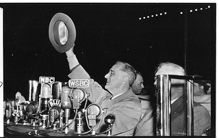 President Franklin Delano Roosevelt ran on his famous New Deal platform that included many economic reforms, public works and many other social programs.