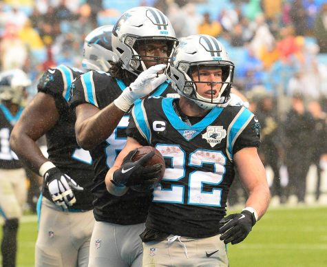 Carolina Panthers running back Christian McCaffrey (22) celebrates after scoring a touchdown against the New Orleans Saints on Dec. 29, 2019.