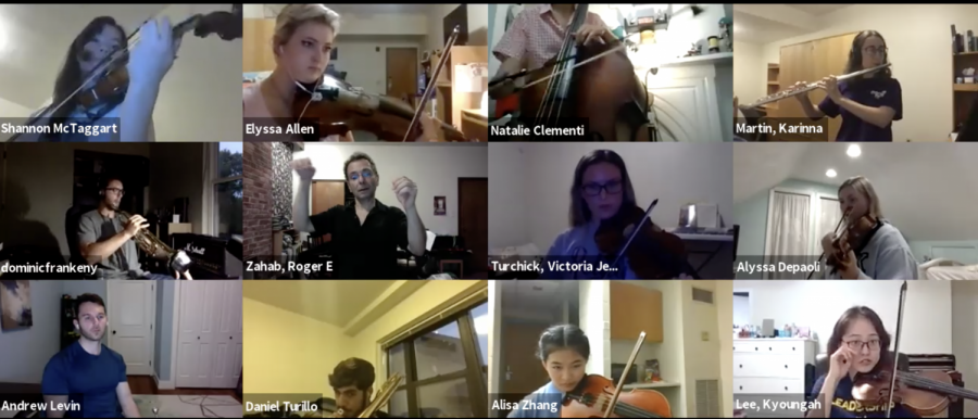 The Pitt Symphony Orchestra gathered via Zoom on Wednesday for its first rehearsal.
