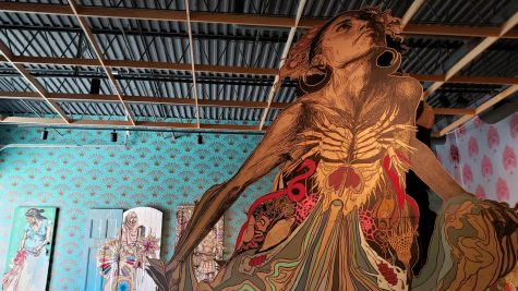 "Artist Swoon's exhibit at Contemporary Craft, ""The Heart Lives Through the Hands."""