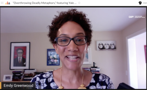 "Emily Greenwood, professor of classics and African American studies at Yale University, started off CAAPP's Black Study Intensive week with her virtual talk ""Overthrowing Deadly Metaphors"" on Monday afternoon."