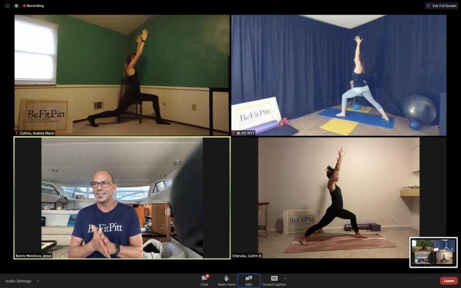 Be Fit Pitt instructors lead an Awakening Morning Yoga class in a Zoom webinar last Friday. Zoom Screenshot