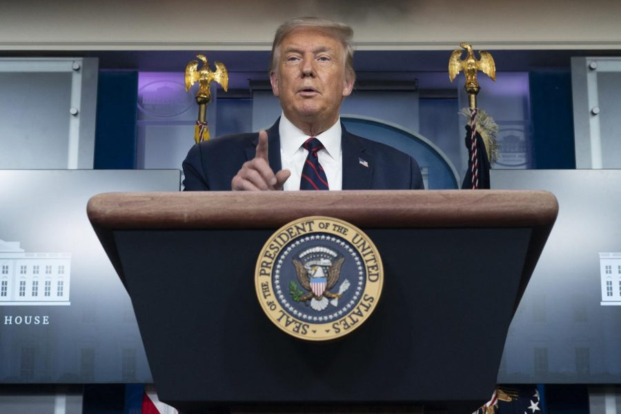 United States President Donald Trump holds a news briefing at the White House on Aug. 4 in Washington, D.C.
