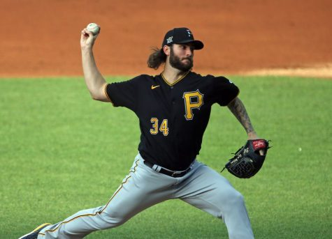 Pittsburgh Pirates starting pitcher Trevor Williams pitches against the Cleveland Indians during an exhibition game at Progressive Field.