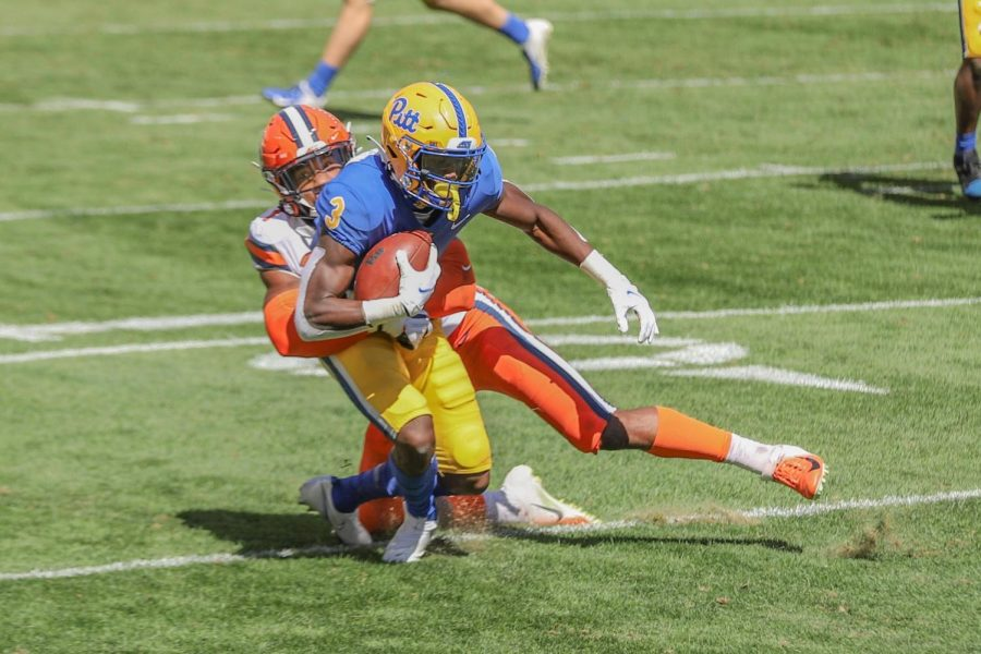First-year wide receiver Jordan Addison is tackled.