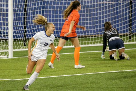 First-year midfielder Emily Yaple (10) celebrates the first goal of her Pitt career during Thursday evening