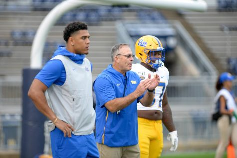 Pitt head football coach Pat Narduzzi (middle) points to players such as Rashad Weaver (left), Patrick Jones and Keyshon Camp to fill roles left by Jaylen Twyman (right) and Damarri Mathis.