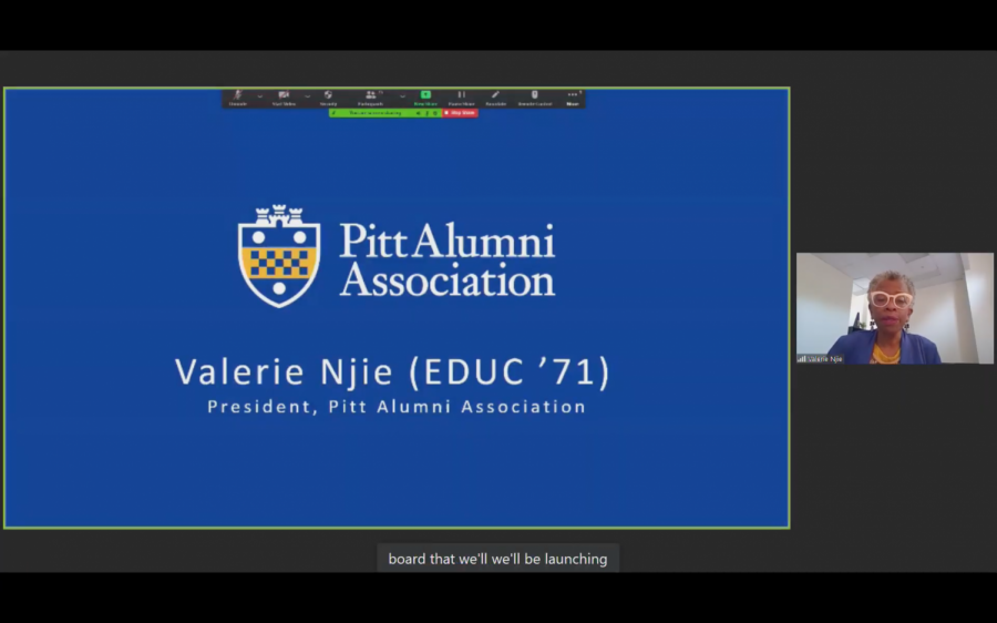 Valerie Njie, the president of the Pitt Alumni Association, spoke at Friday morning's board of trustees meeting.