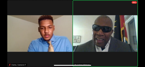 Dr. Aubrey Webson (right), the current United Nations ambassador of Antigua and Barbuda, participated in a live Zoom webinar Wednesday night facilitated by Cameron Clarke (left).
