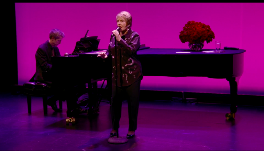 Patti LuPone sings at her virtual concert Saturday night. Screenshot via Cadenza TV