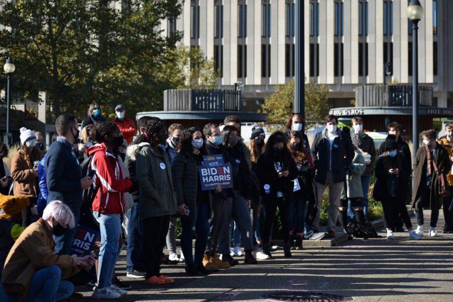 Students listen to Pete Buttigieg speak in Schenley Plaza on Saturday morning.