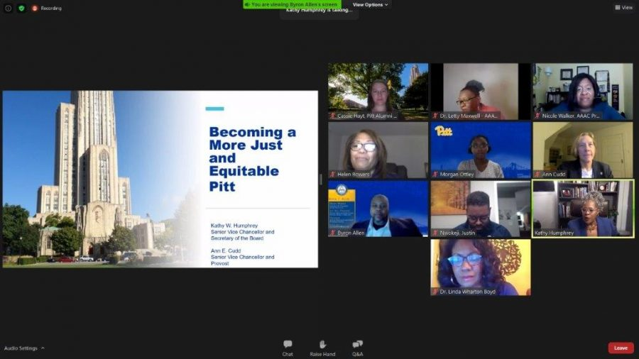Pitt%E2%80%99s+African+American+Alumni+Council+and+the+University+administration+held+a+town+hall+Thursday+night+via+Zoom.+