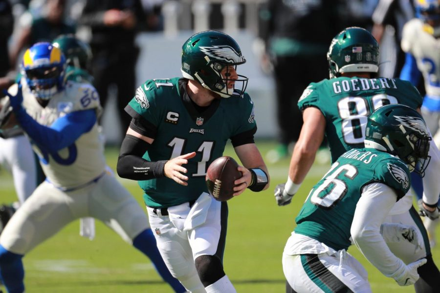 Philadelphia Eagles quarterback Carson Wentz completed 26-of-43 passes for 242 yards against the Los Angeles Rams on Sunday, Sept. 20.