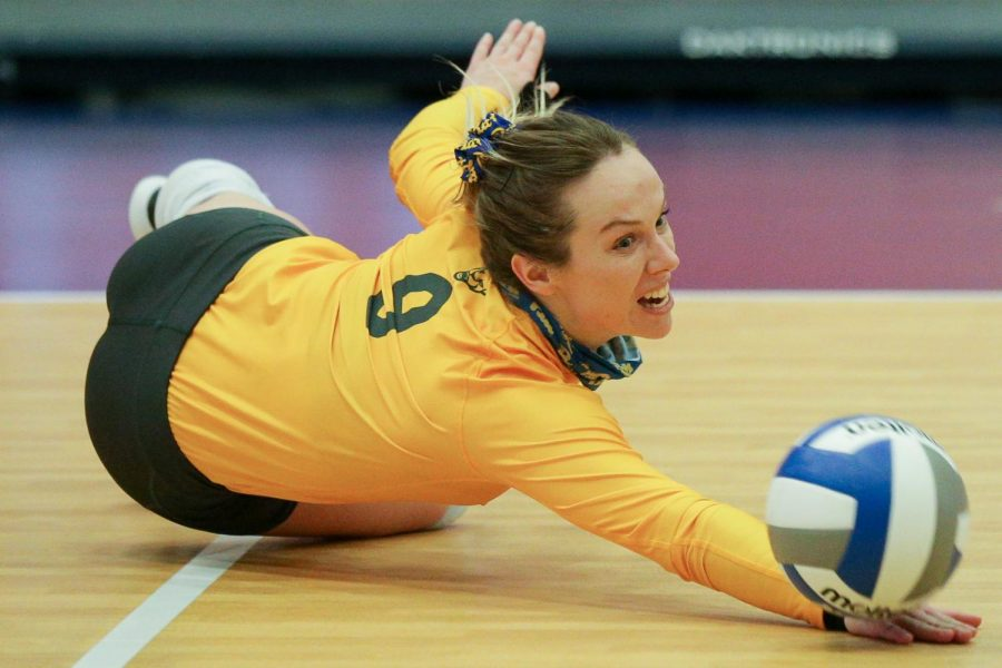 Senior+libero+Marija+Popovic+%289%29+dives+for+the+ball+during+Pitt%27s+3-0+win+over+No.+6+Louisville+on+Friday.+