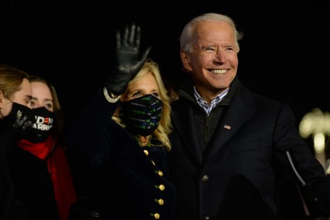 The Bidens at the Heinz Field rally on Monday evening.
