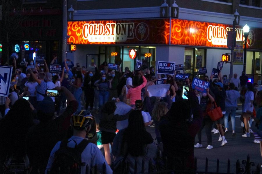 Pittsburghers celebrate Joe Biden's victory at the intersection of Forbes and Murray avenues in Squirrel Hill.