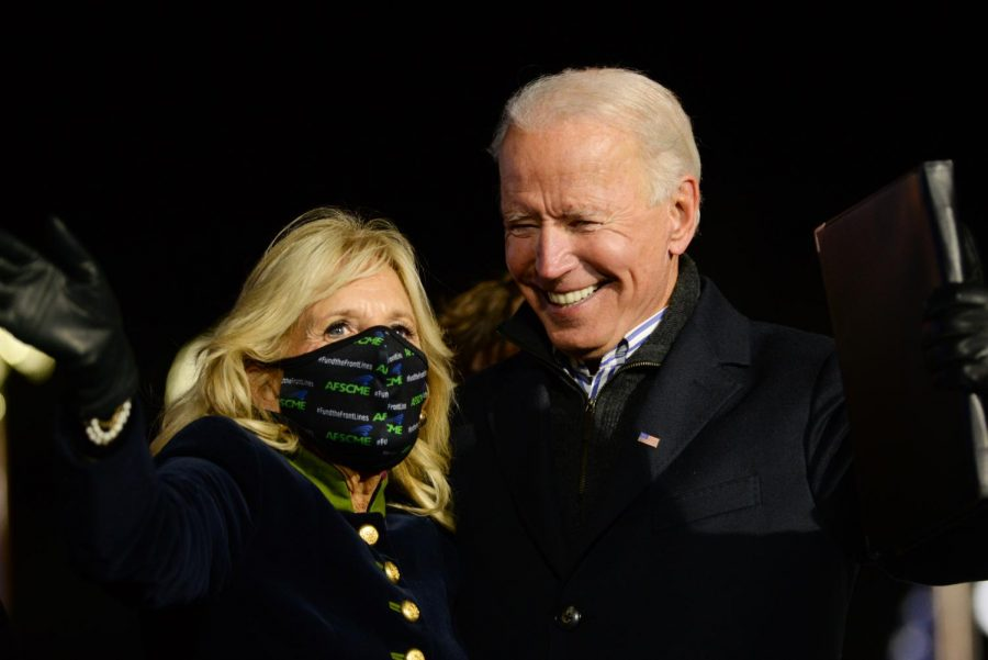 Former+Vice+President+Joe+Biden+and+his+wife%2C+Jill%2C+held+a+drive-in+rally+and+concert+featuring+pop+star+Lady+Gaga+outside+Heinz+Field+Monday+night+%E2%80%94+their+final+event+before+the+election.+