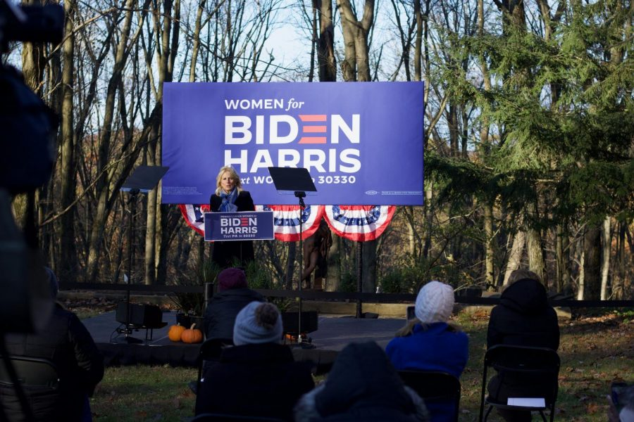 Jill Biden speaks at a Monday afternoon event in the North Hills.