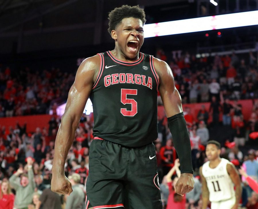 Georgia's Anthony Edwards reacts to his breakaway slam dunk after making a steal late in the second half against Texas A&M on Feb. 1.