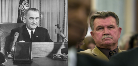 Left: Lyndon B. Johnson served as the 36th president of the United States. Keystone/Hulton Archive/Getty Images | TNS. Right: Mike Ditka played as tight end for the Pitt Panthers from 1958 to 1960. Chuck Kennedy | MCT, TNS