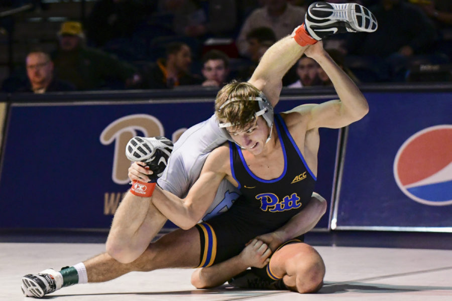 Nino Bonaccorsi competes against Virginia's Michael Battista in February 2020.