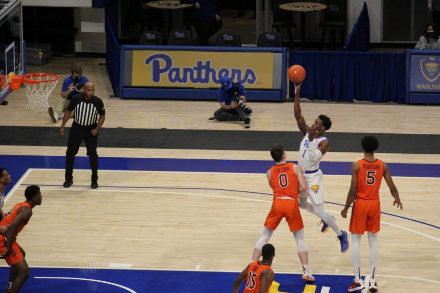 Xavier Johnson, pictured here against Virginia Tech on Feb. 3, contributed 10 of Pitt's 66 points against Virginia on Saturday.
