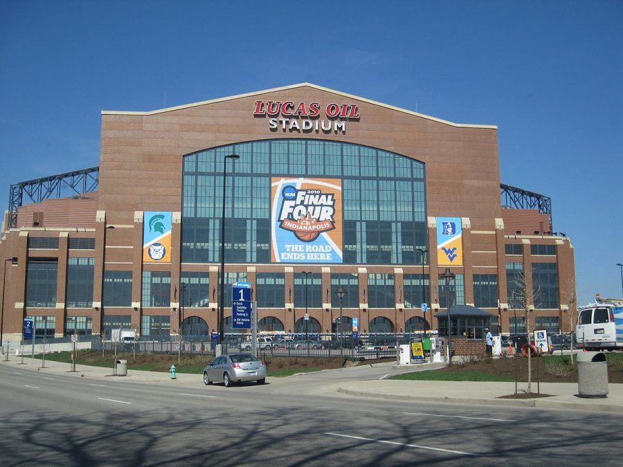 The south side of Lucas Oil Stadium for the 2010 NCAA Final Four Division I Men's Championship game in Indianapolis. The NCAA will play all the men's basketball postseason games in Indianapolis for 2021, with the status of fan attendance still unknown.