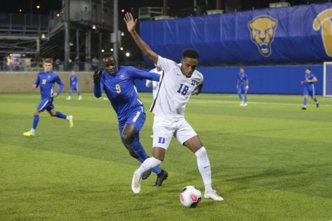 The New England Revolution drafted senior forward Edward Kizza (9), who broke a number of school scoring records, in the first round of the MLS SuperDraft in January.