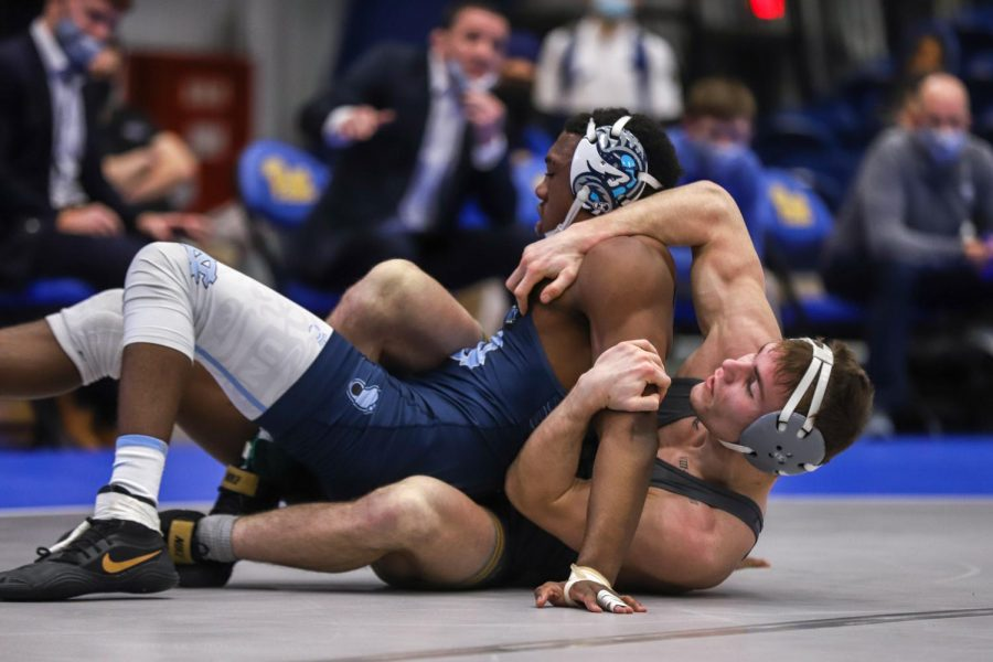 Jake Wentzel won the 165-pound weight class matchup against UNC's Kennedy Monday.