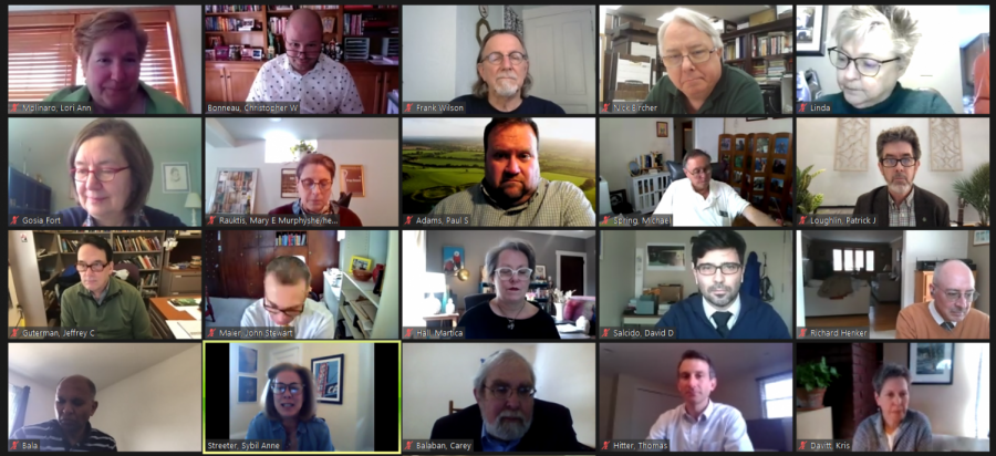 Faculty Assembly members passed new term limits for Senate officers and discussed upcoming anti-racism panel discussions, next week's Self-Care Day and tentative plans for an in-person commencement at Wednesday afternoon's meeting hosted via Zoom.