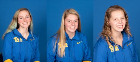 Three first-year Pitt team members — swimmers Caroline Crouse (left) and Genna Joyce (middle) as well as diver Claire McDaniels (right) — hail from the Raleigh area.
