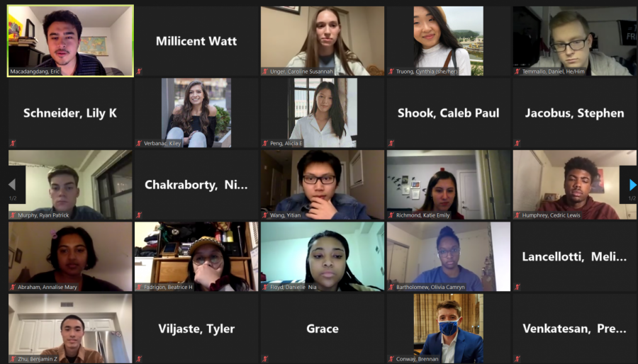 Student Government Board held its first weekly Zoom meeting since last week's election on Tuesday night.