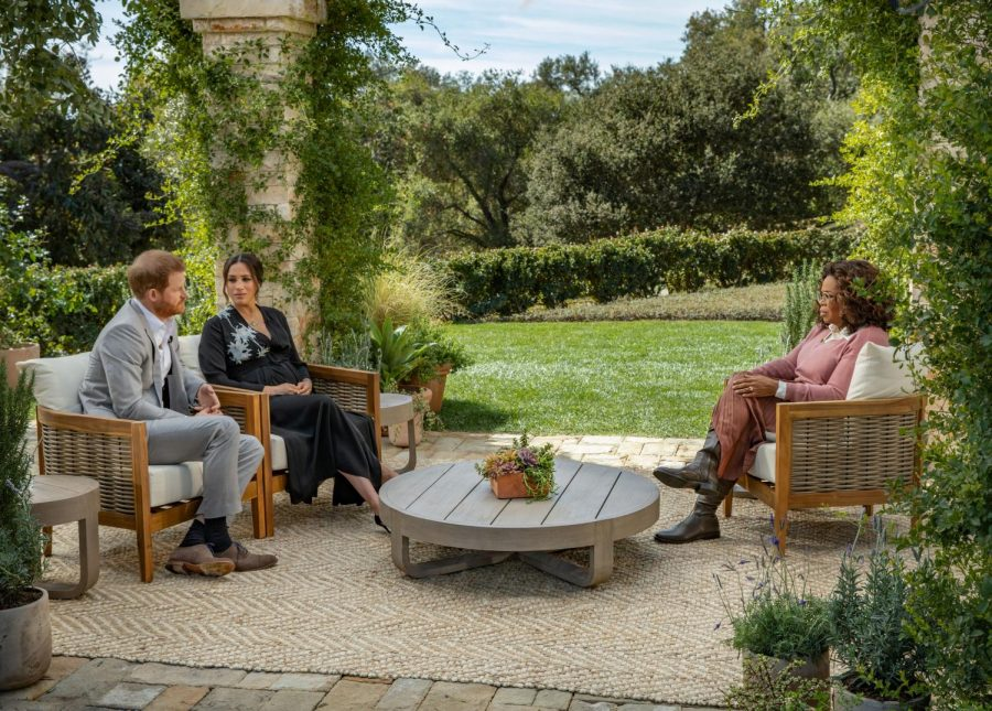 Prince+Harry+and+Meghan+Markle+sit+for+an+interview+with+Oprah+Winfrey.