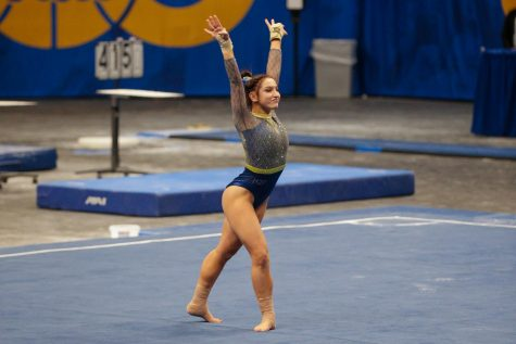 Senior gymnast Jordan Ceccarini tied for first in floor exercise with a score of 9.90.