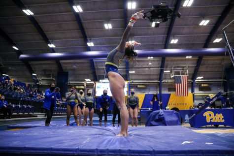 Pitt gymnastics (6-10-1, 5-7-1 EAGL) won a match against West Virginia (2-7, 0-6 Big 12) on Friday night, beating the Mountaineers by a final score of 195.100-194.675 at the Fitzgerald Field House. However, the team couldn't maintain momentum and ultimately lost on Sunday by a margin of 196.100-193.400.