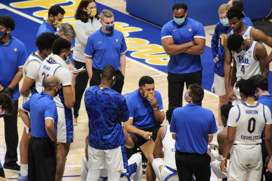 The Pitt men's basketball team wore masks in a team huddle during its game against Saint Francis University on Nov. 25. Head coach Jeff Capel was gut-wrenchingly honest over the course of the past few months about how difficult this season was due to the COVID-19 pandemic.
