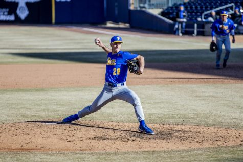 Jordan McCrum is a senior relief pitcher for Pitt baseball. McCrum transferred to Pitt from Monmouth University last year after undergoing Tommy John surgery, which entails reconstructing the ulnar collateral ligament within the elbow by replacing it with a ligament from elsewhere in the body.