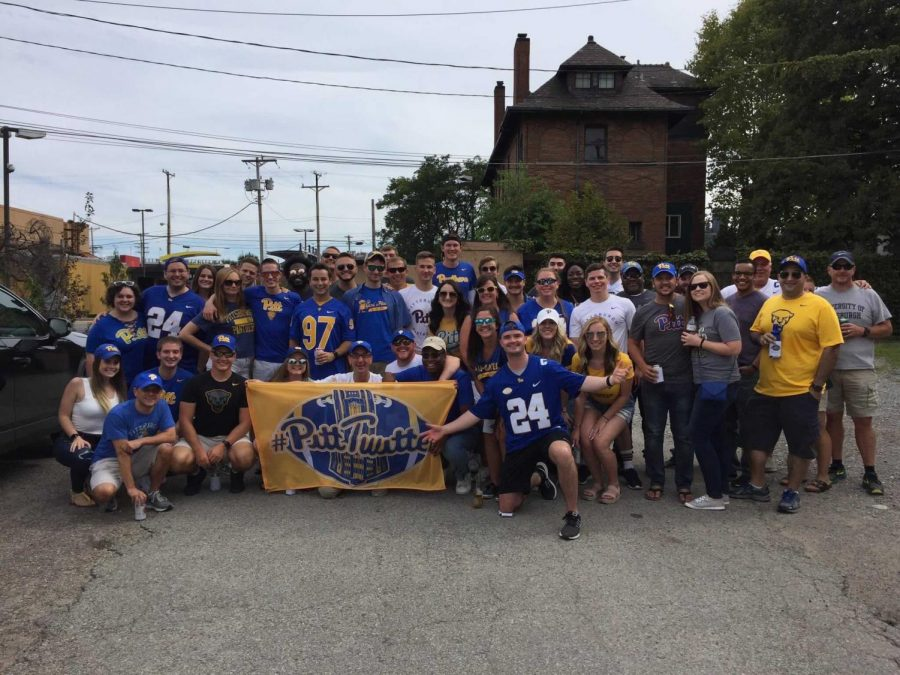 "Members of the ""Pitt Twitter"" community gather to tailgate outside of Heinz Field before a Pitt football game in 2019."
