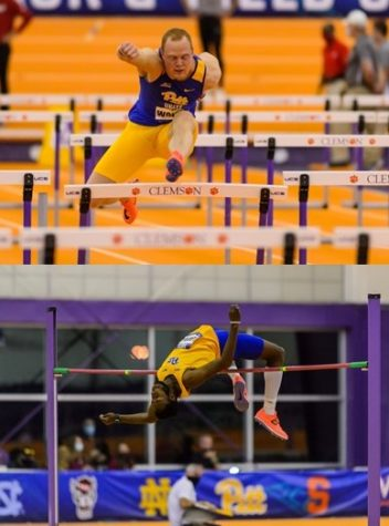 Felix Wolter (top) and Greg Lauray will compete in the NCAA Indoor Track and Field Championship in Fayetteville, Arkansas, this weekend. Wolter, a fifth-year, will compete in the heptathlon and Lauray, a senior, will compete in the high jump.
