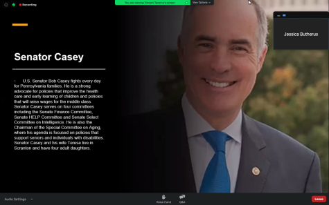 Pennsylvania Sen. Bob Casey dialed in Thursday evening to share his political insight with students across the Pittsburgh area — all while driving home from a late congressional meeting.