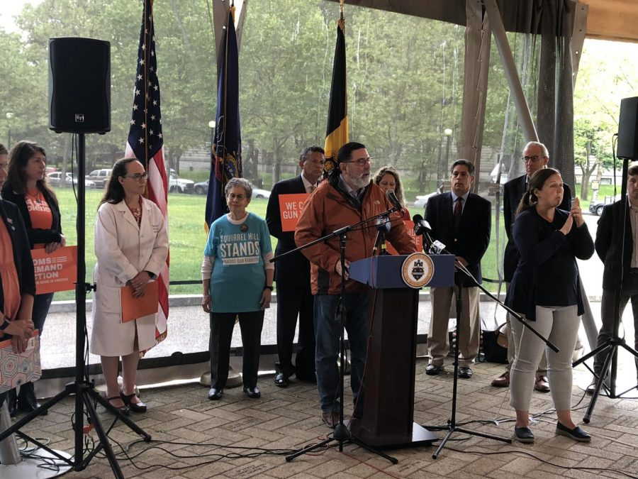 Mayor Bill Peduto spoke at a Thursday afternoon event in Schenley Plaza about gun control legislation pending in the state General Assembly.