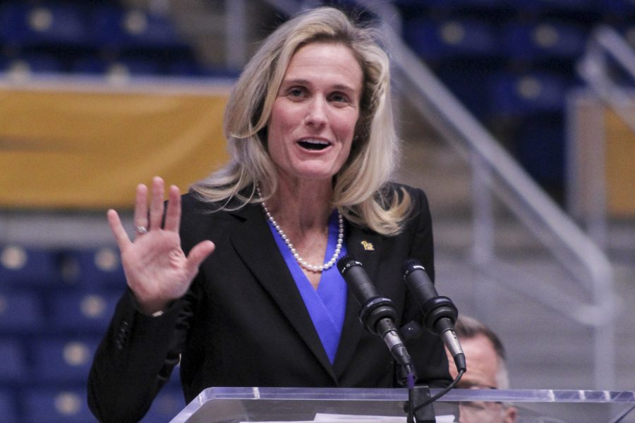Heather Lyke, Pitts athletic director, speaks at a January 2020 press conference.