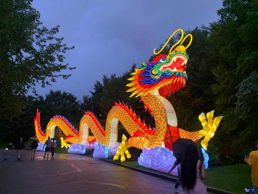 A+100-foot+long+brightly+colored+dragon+stands+at+the+end+of+The+Pittsburgh+Zoo+and+PPG+Aquarium%E2%80%99s+lantern-filled+tunnel%2C+one+of+the+attractions+of+the+zoo%E2%80%99s+Asian+Lantern+Festival+event.